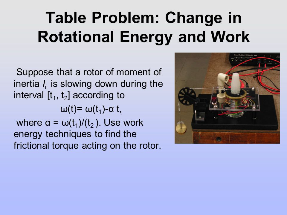 Table Problem: Change in Rotational Energy and Work Suppose that a rotor of moment of inertia I r is slowing down during the interval [t 1, t 2 ] acco