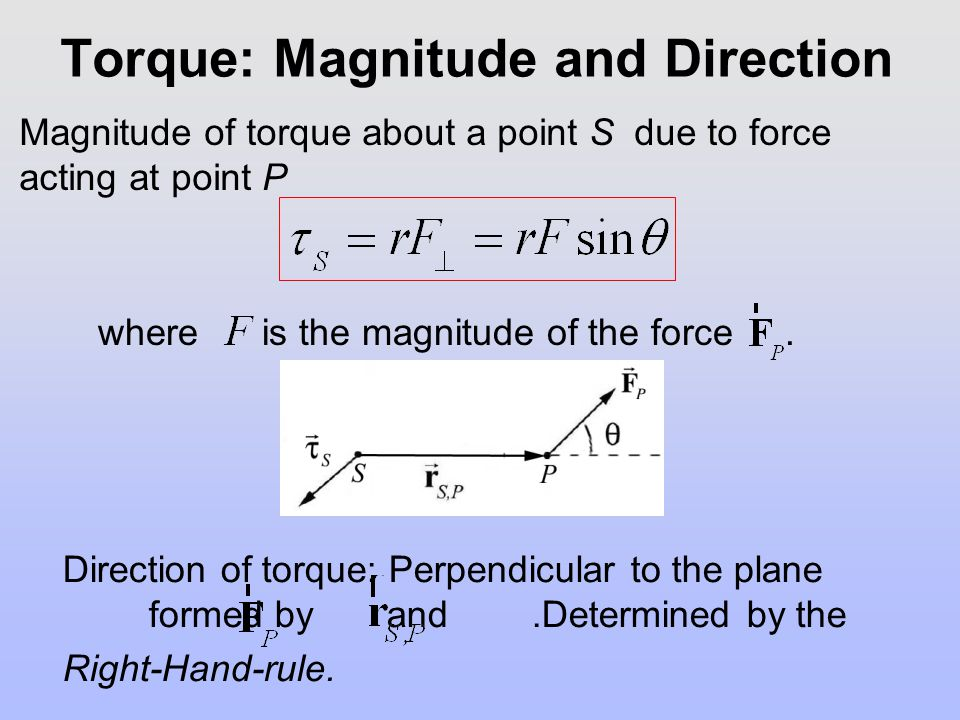Torque: Magnitude and Direction Magnitude of torque about a point S due to force acting at point P Direction of torque: Perpendicular to the plane for