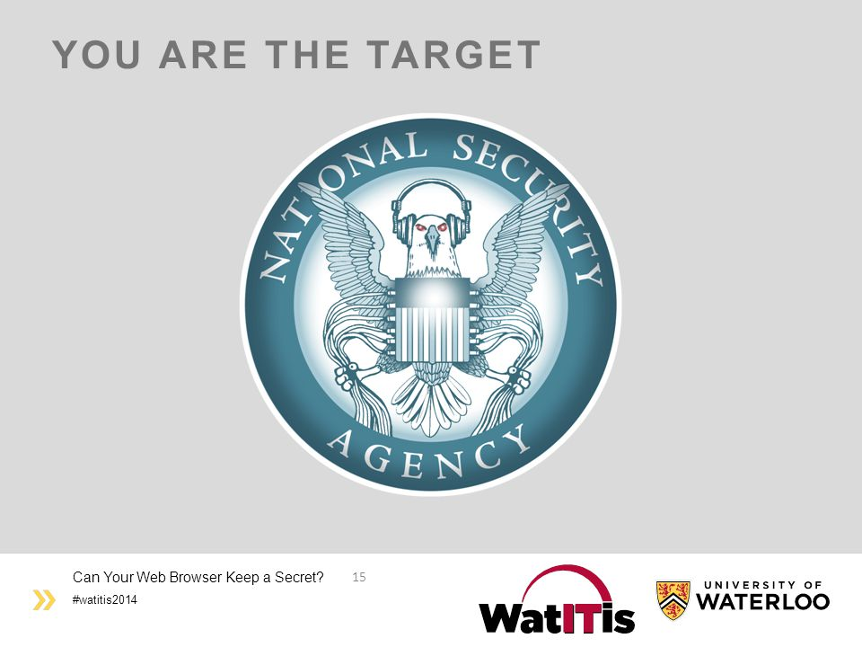 #watitis2014 YOU ARE THE TARGET Can Your Web Browser Keep a Secret? 15