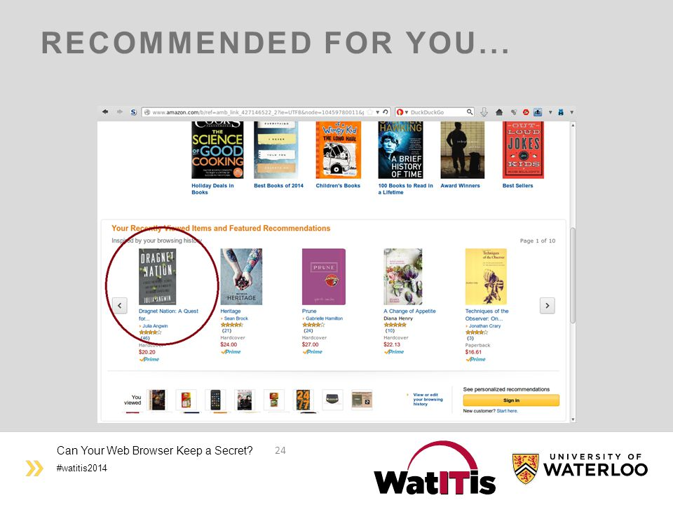 #watitis2014 RECOMMENDED FOR YOU... Can Your Web Browser Keep a Secret? 24