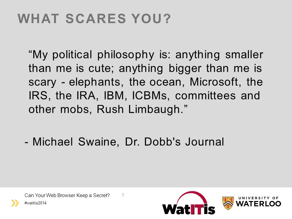 #watitis2014 WHAT SCARES YOU.