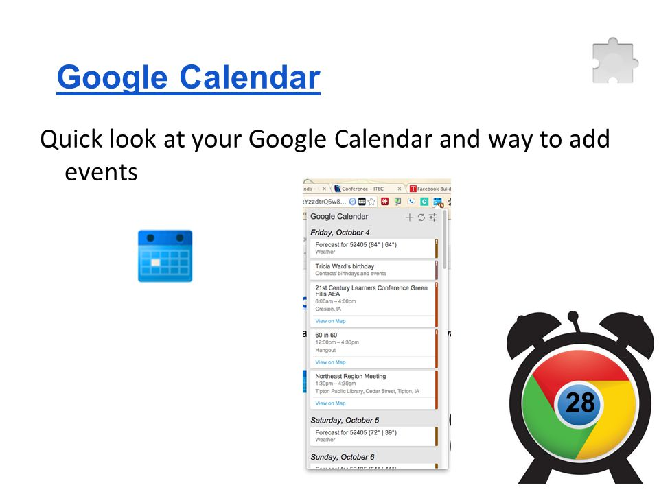 Google Calendar Quick look at your Google Calendar and way to add events 28