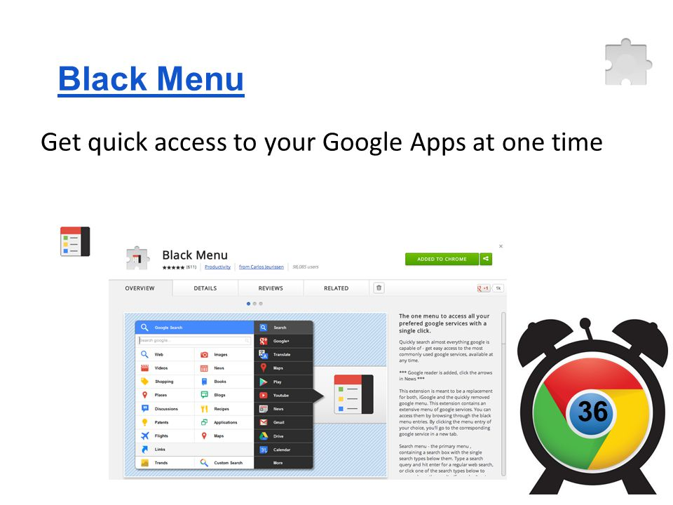 Black Menu Get quick access to your Google Apps at one time 36