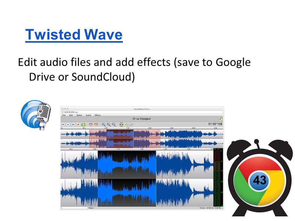 Twisted Wave Edit audio files and add effects (save to Google Drive or SoundCloud) 43