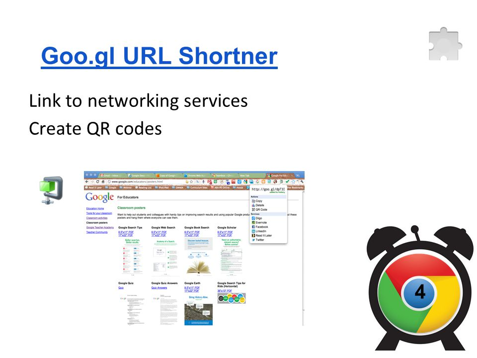 Goo.gl URL Shortner Link to networking services Create QR codes 4