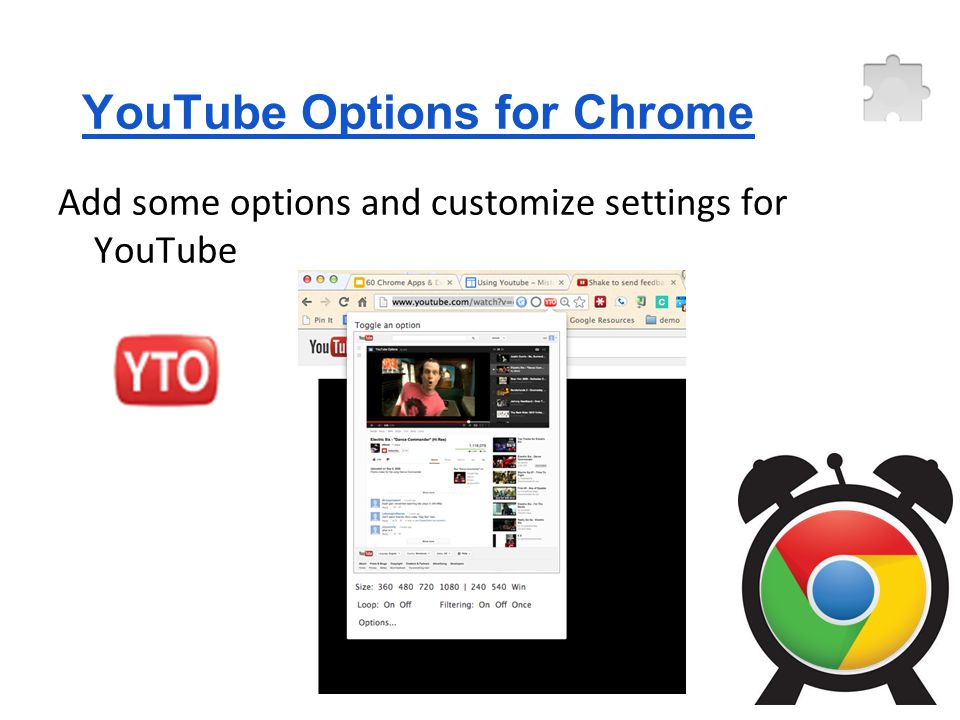 YouTube Options for Chrome Add some options and customize settings for YouTube