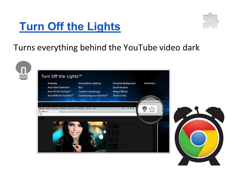 Turn Off the Lights Turns everything behind the YouTube video dark