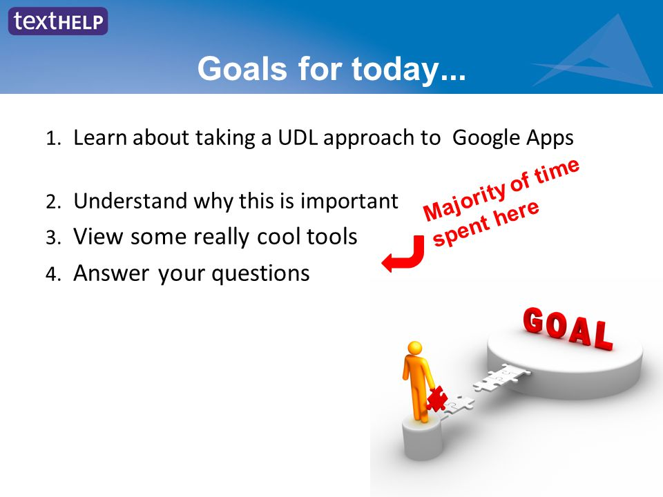 Goals for today... 1. Learn about taking a UDL approach to Google Apps 2.