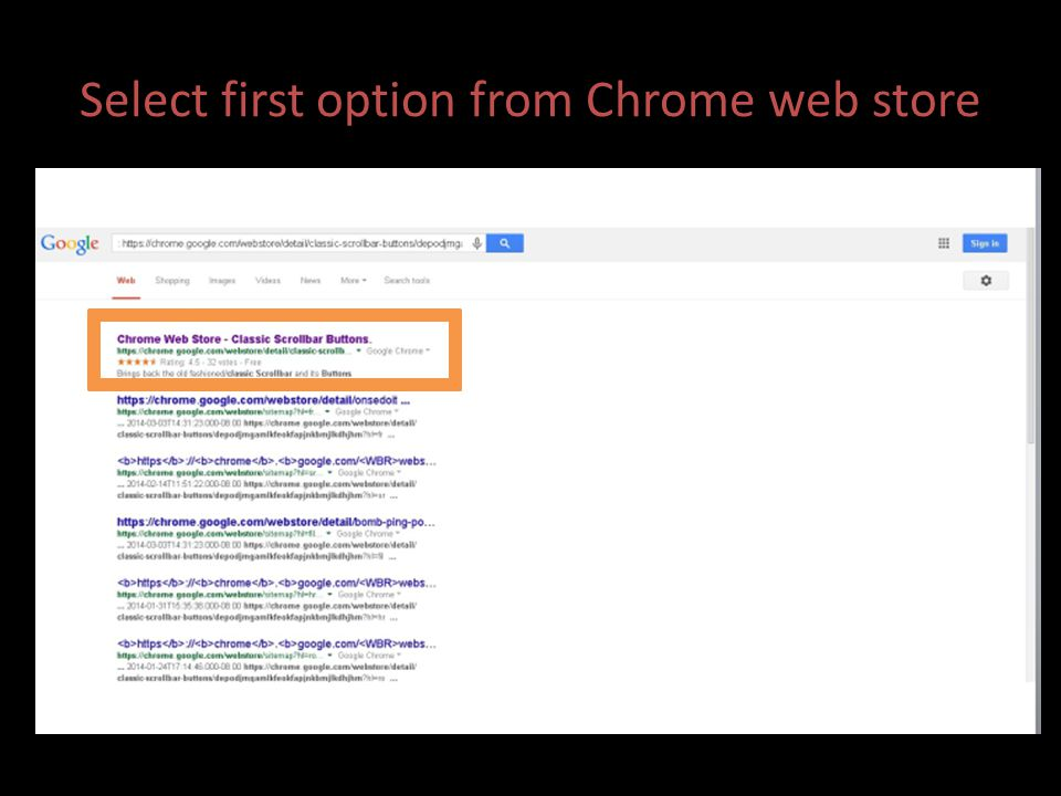 Select first option from Chrome web store