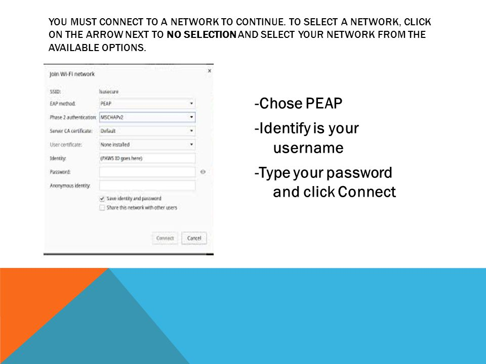 YOU MUST CONNECT TO A NETWORK TO CONTINUE. TO SELECT A NETWORK, CLICK ON THE ARROW NEXT TO NO SELECTION AND SELECT YOUR NETWORK FROM THE AVAILABLE OPT