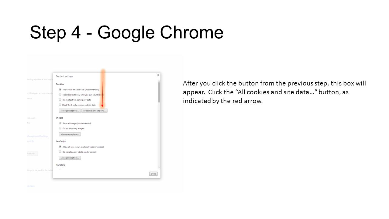 Step 4 - Google Chrome After you click the button from the previous step, this box will appear.