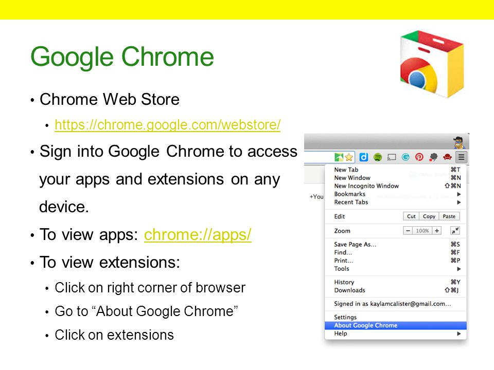 Google Chrome Chrome Web Store https://chrome.google.com/webstore/ Sign into Google Chrome to access your apps and extensions on any device.