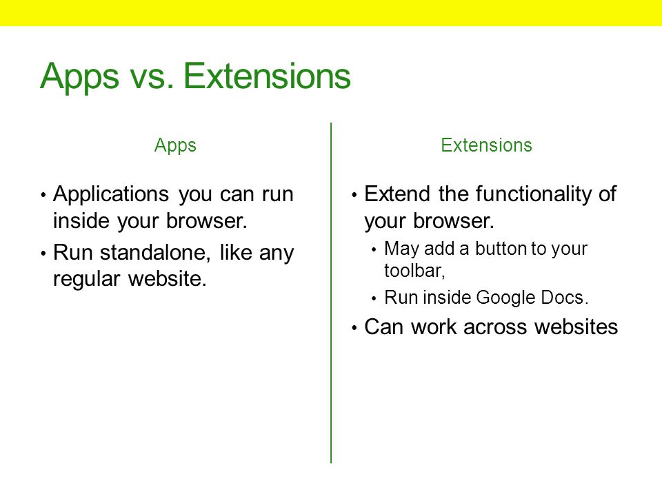 Apps vs. Extensions Apps Applications you can run inside your browser.