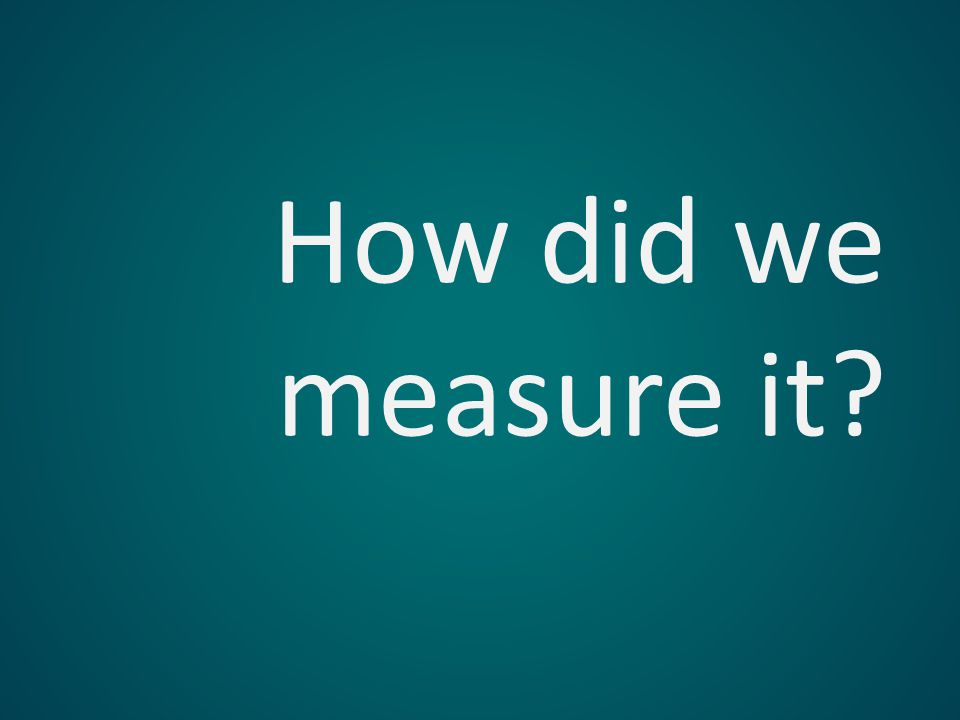 How did we measure it?