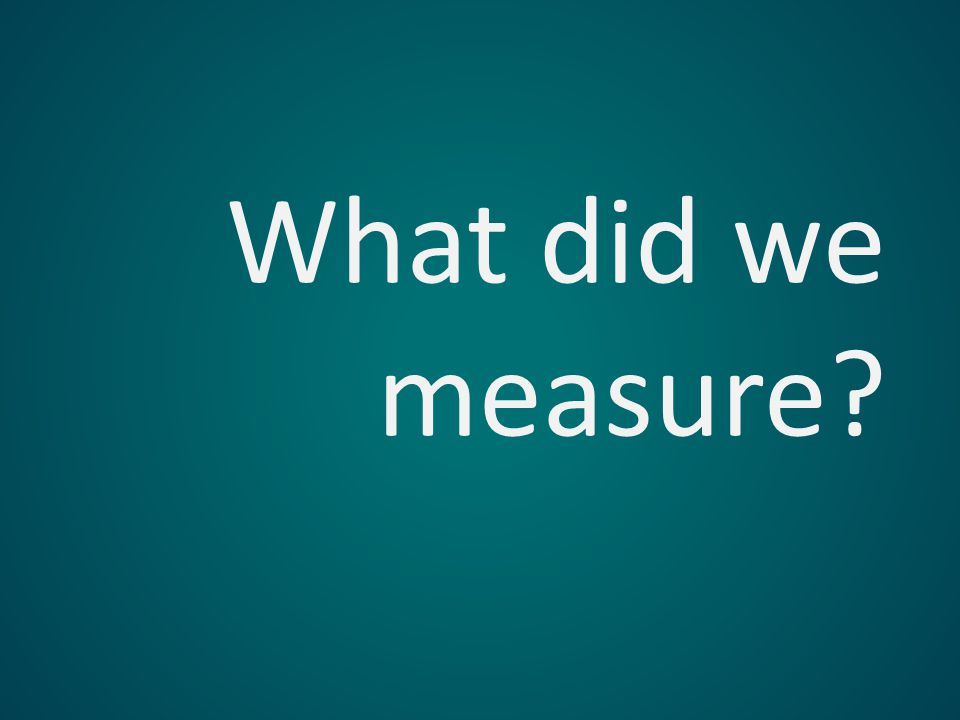 What did we measure?