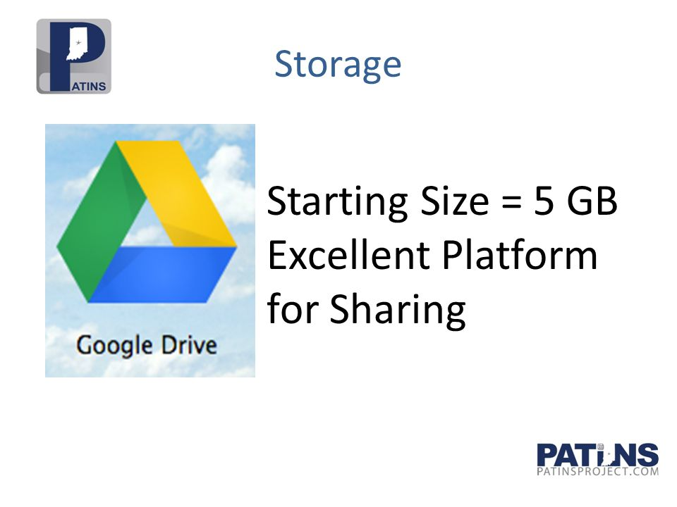 Storage Starting Size = 5 GB Excellent Platform for Sharing