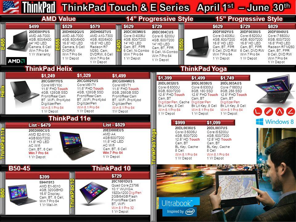 $599 10E9000PUS Core i3 4130t 4GB DDR3 500GB/72000 VGA + 2 DP's Win 7 Pro 64 Wi-Fi 3 Yr Onsite $699 10E9000SUS Core i5 4590 4GB DDR3 500/7200 VGA + 2 DP's Win 7 Pro 64 Wi-Fi 3 Yr Onsite