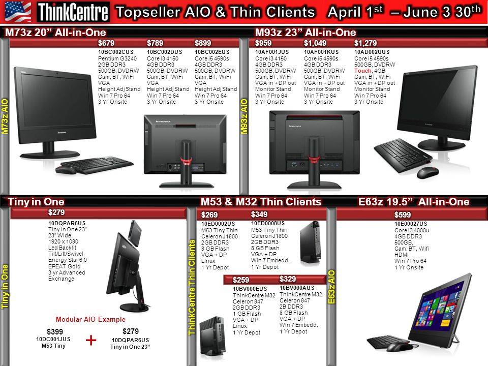 Modular AIO Example $399 10DC001JUS M53 Tiny + $279 10DQPAR6US Tiny in One 23