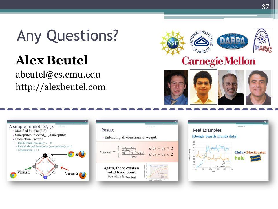 Any Questions? Alex Beutel abeutel@cs.cmu.edu http://alexbeutel.com 37