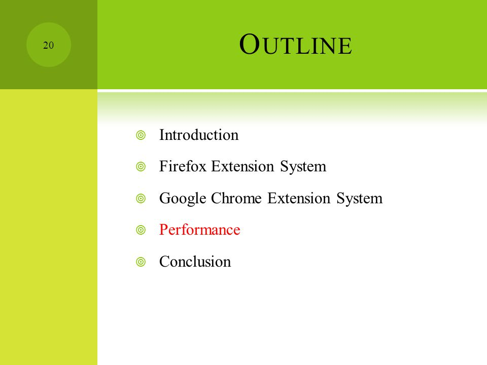 O UTLINE  Introduction  Firefox Extension System  Google Chrome Extension System  Performance  Conclusion 20