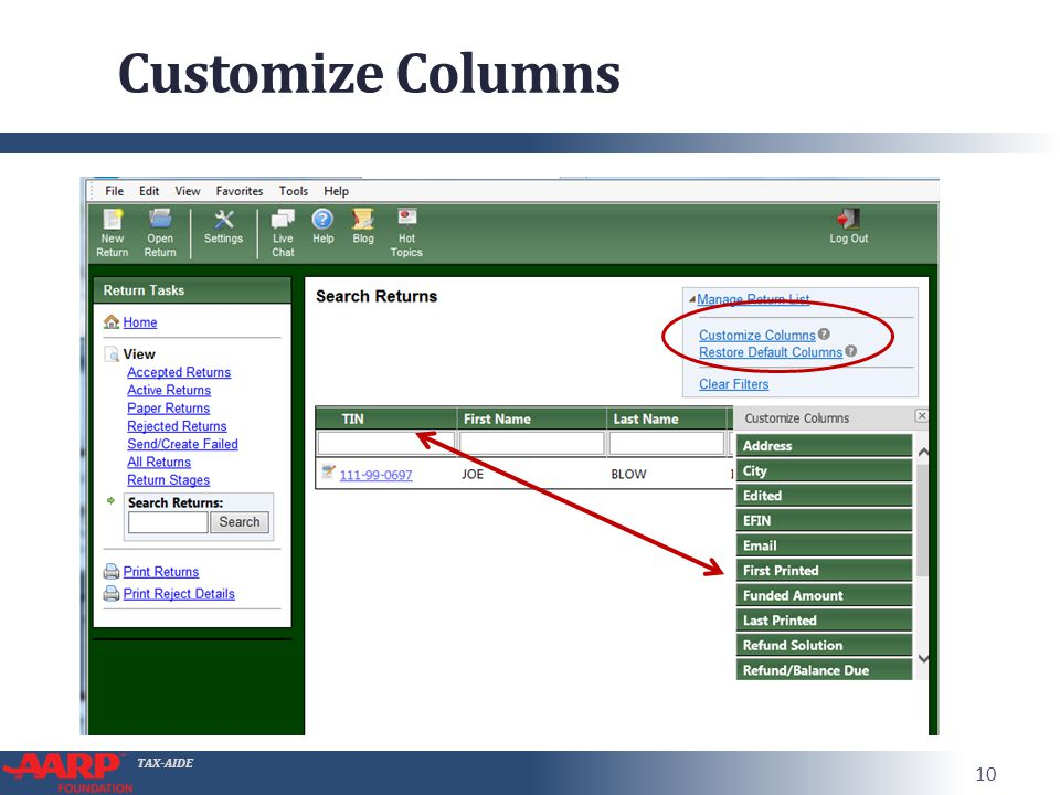 TAX-AIDE Customize Columns 10