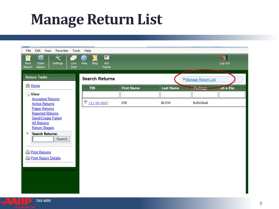 TAX-AIDE Manage Return List 9