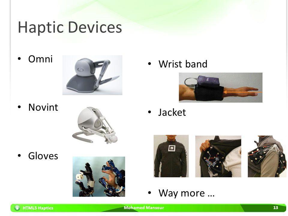 HTML5 Haptics Haptic Devices Omni Novint Gloves Mohamed Mansour13 Wrist band Jacket Way more …