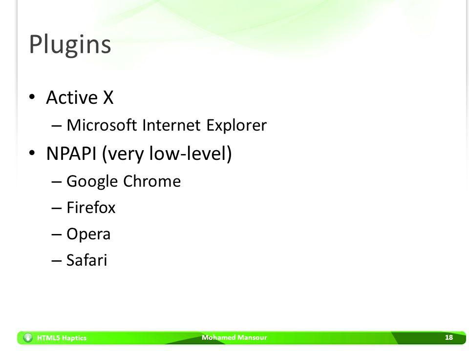 HTML5 Haptics Plugins Active X – Microsoft Internet Explorer NPAPI (very low-level) – Google Chrome – Firefox – Opera – Safari Mohamed Mansour18
