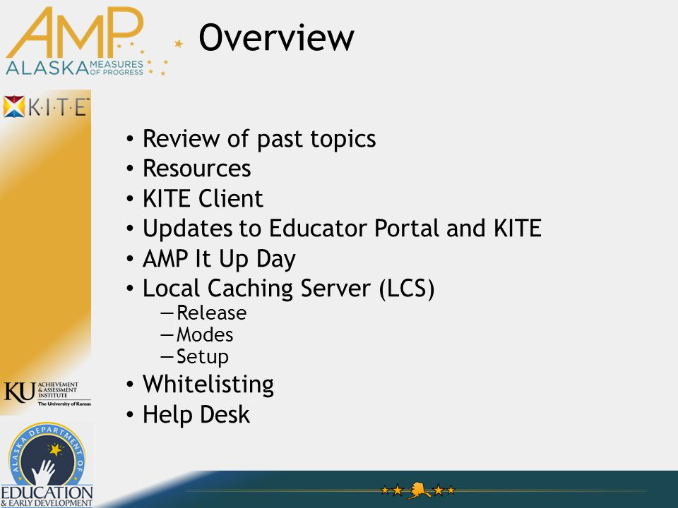 Overview Review of past topics Resources KITE Client Updates to Educator Portal and KITE AMP It Up Day Local Caching Server (LCS) —Release —Modes —Setup Whitelisting Help Desk
