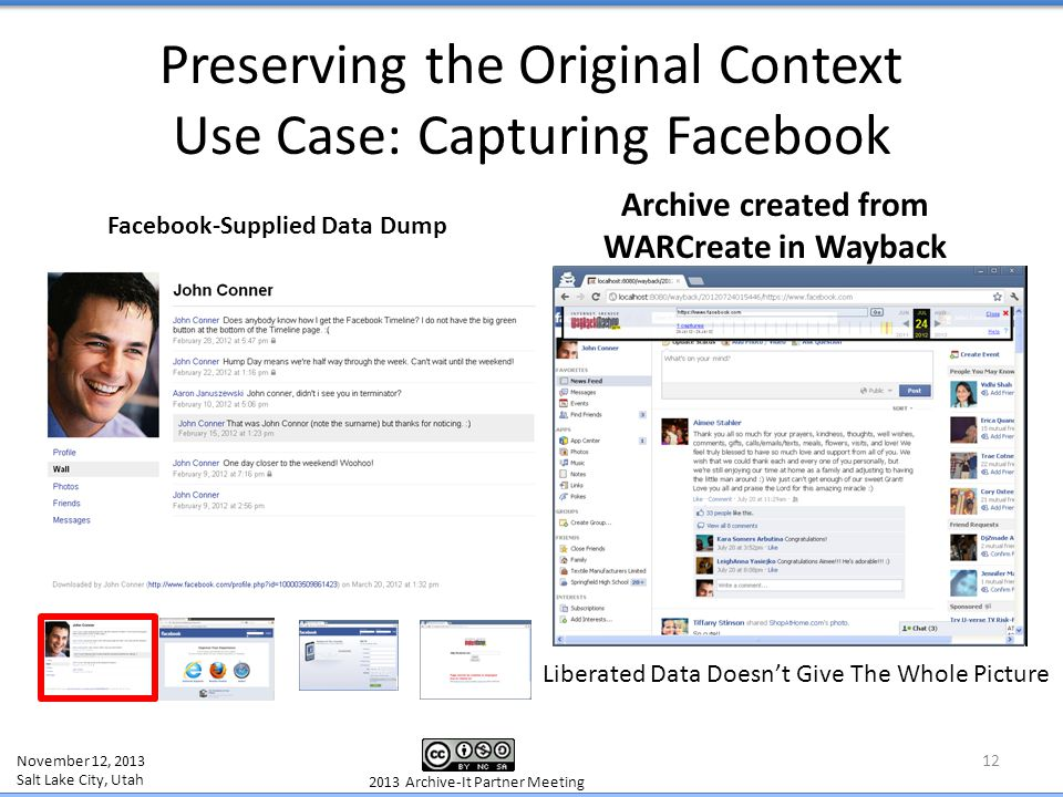 Preserving the Original Context Use Case: Capturing Facebook 12 Facebook-Supplied Data Dump Archive created from WARCreate in Wayback November 12, 201