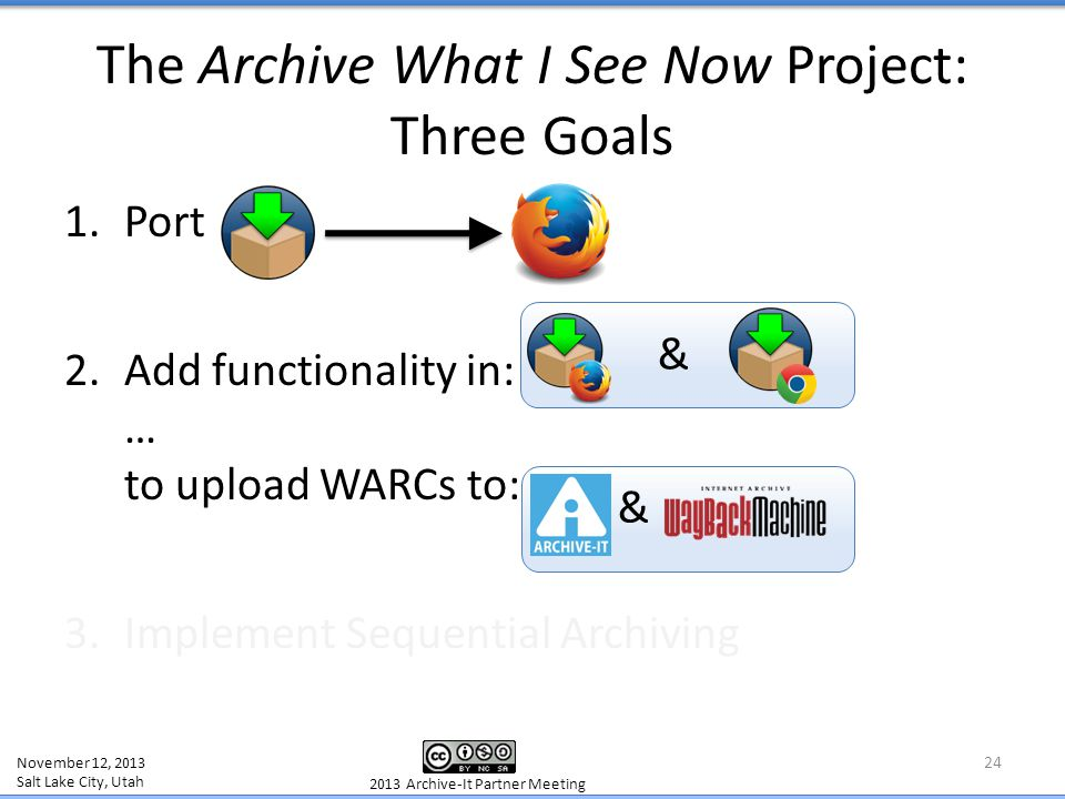 The Archive What I See Now Project: Three Goals 1.Port 2.Add functionality in: … to upload WARCs to: 3.Implement Sequential Archiving 24 November 12,
