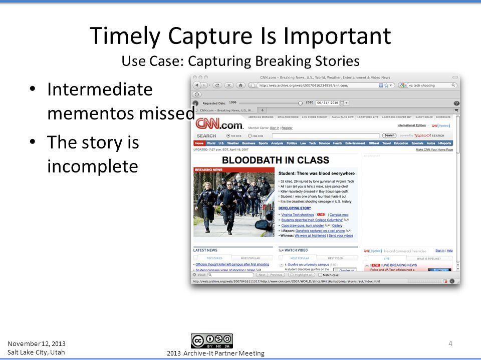 Preserving the Original Context Use Case: Capturing Facebook 15 IA/HERITRIX OBEY ROBOTS Archive created from WARCreate in Wayback November 12, 2013 Salt Lake City, Utah 2013 Archive-It Partner Meeting No Means No, if They Say and you Obey