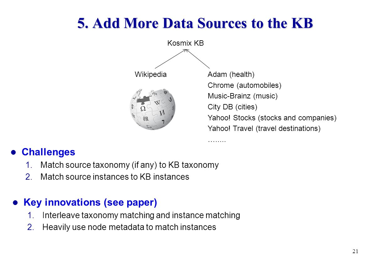 5. Add More Data Sources to the KB 21 Challenges 1.Match source taxonomy (if any) to KB taxonomy 2.Match source instances to KB instances Key innovati