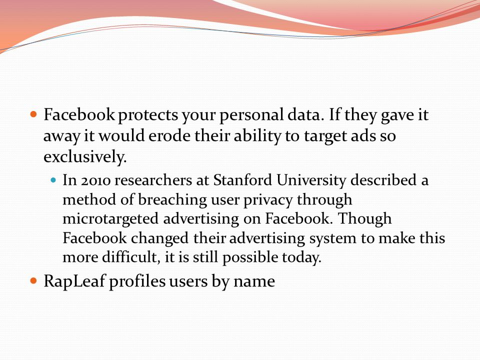 Facebook protects your personal data.