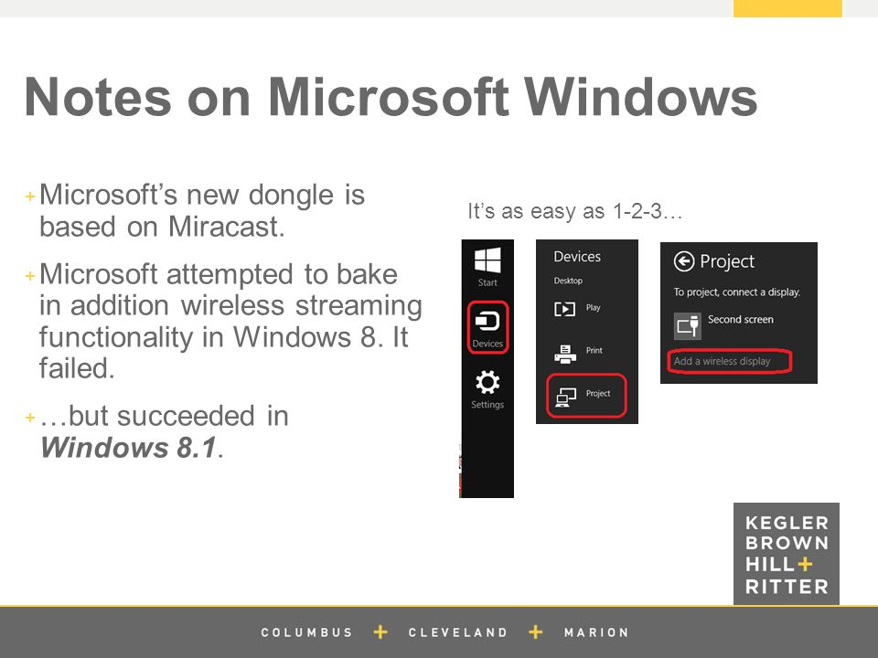 z Notes on Microsoft Windows  Microsoft's new dongle is based on Miracast.