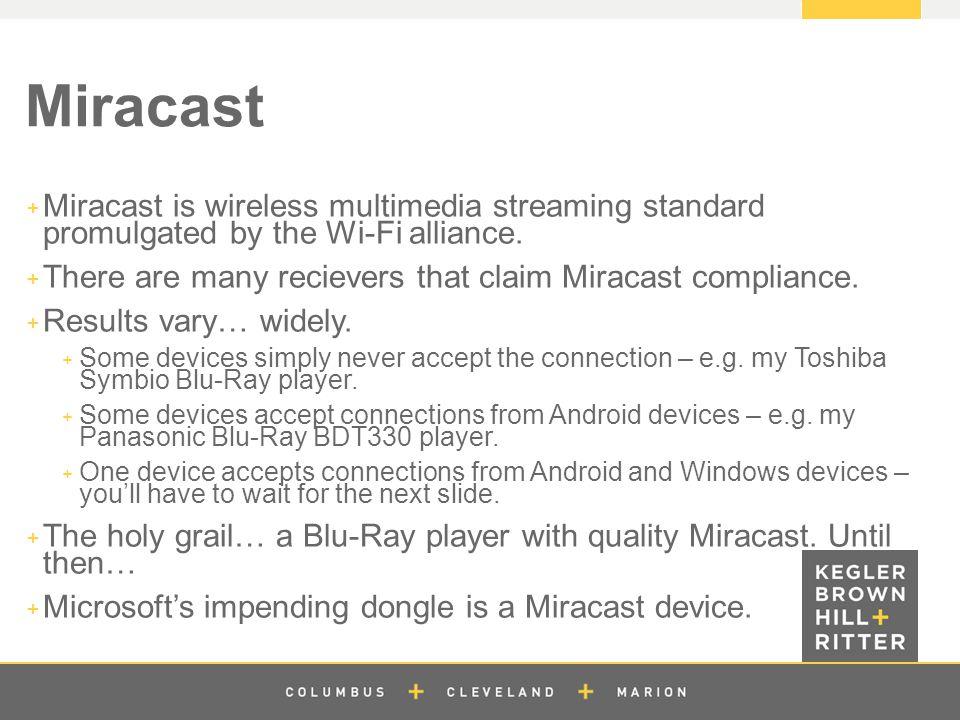 z Miracast  Miracast is wireless multimedia streaming standard promulgated by the Wi-Fi alliance.