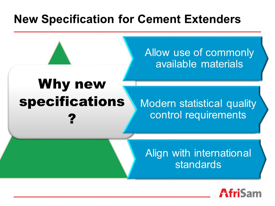New Specification for Cement Extenders Why new specifications ? Allow use of commonly available materials Modern statistical quality control requireme