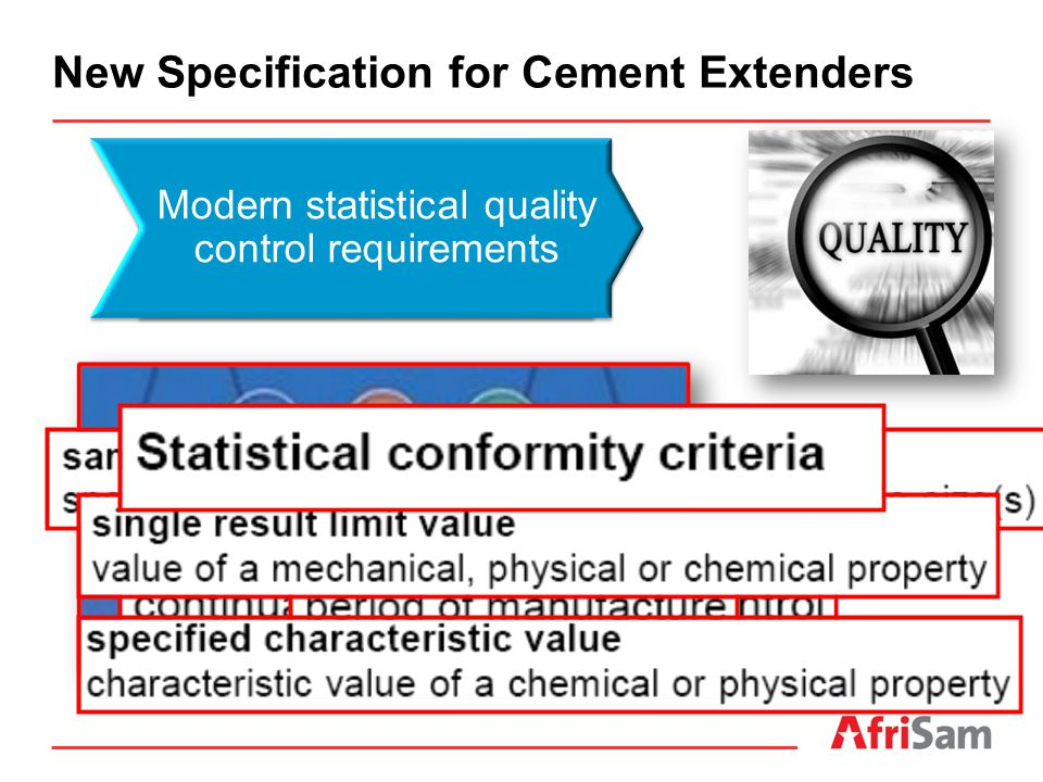 Modern statistical quality control requirements New Specification for Cement Extenders