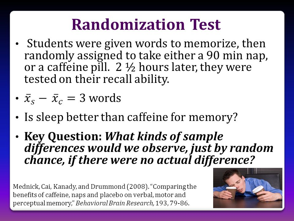 """Randomization Test Mednick, Cai, Kanady, and Drummond (2008). """"Comparing the benefits of caffeine, naps and placebo on verbal, motor and perceptual me"""