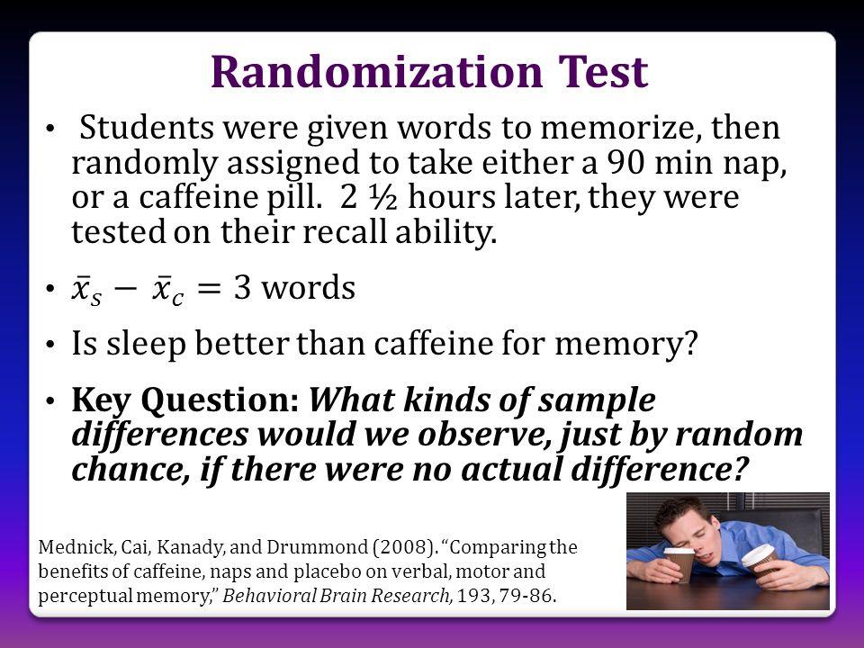 Randomization Test Mednick, Cai, Kanady, and Drummond (2008).