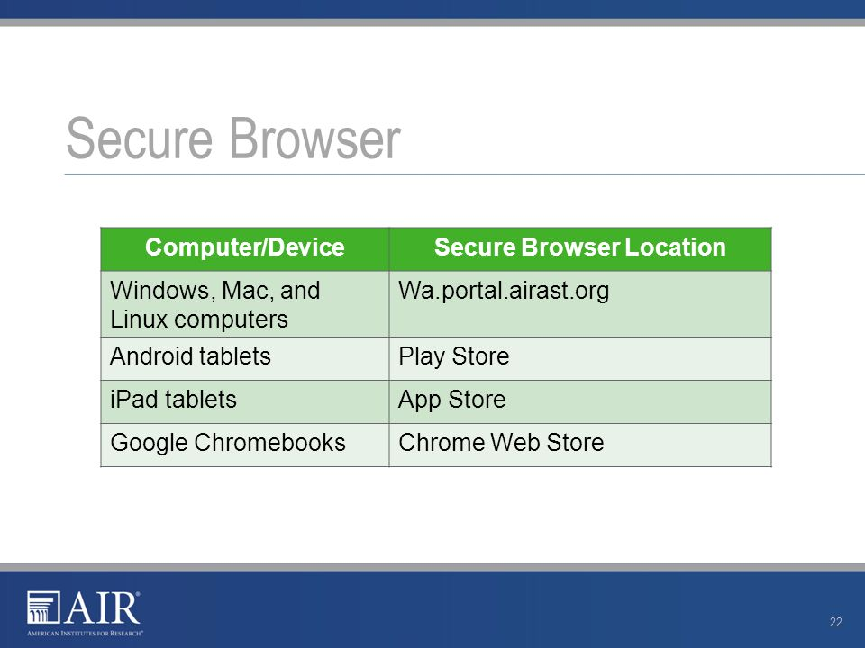 Secure Browser Computer/DeviceSecure Browser Location Windows, Mac, and Linux computers Wa.portal.airast.org Android tabletsPlay Store iPad tabletsApp Store Google ChromebooksChrome Web Store 22