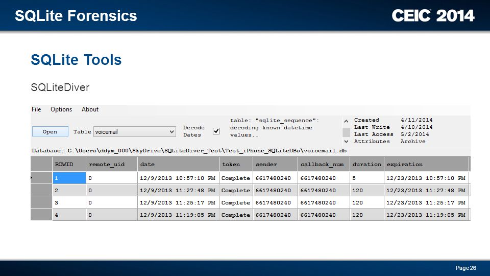SQLite Tools SQLite Forensics Page 26 SQLiteDiver