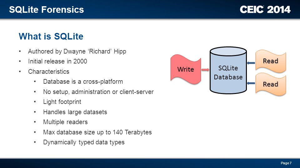 Authored by Dwayne 'Richard' Hipp Initial release in 2000 Characteristics Database is a cross-platform No setup, administration or client-server Light