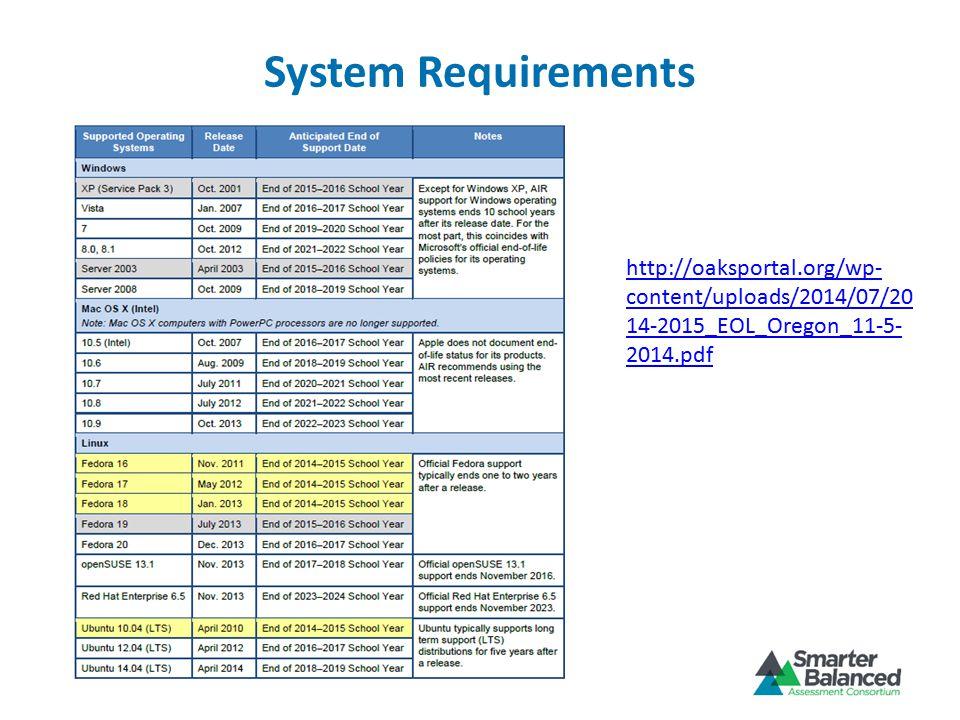 System Requirements http://oaksportal.org/wp- content/uploads/2014/07/20 14-2015_EOL_Oregon_11-5- 2014.pdf