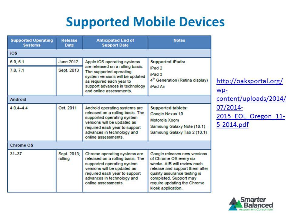 Supported Mobile Devices http://oaksportal.org/ wp- content/uploads/2014/ 07/2014- 2015_EOL_Oregon_11- 5-2014.pdf