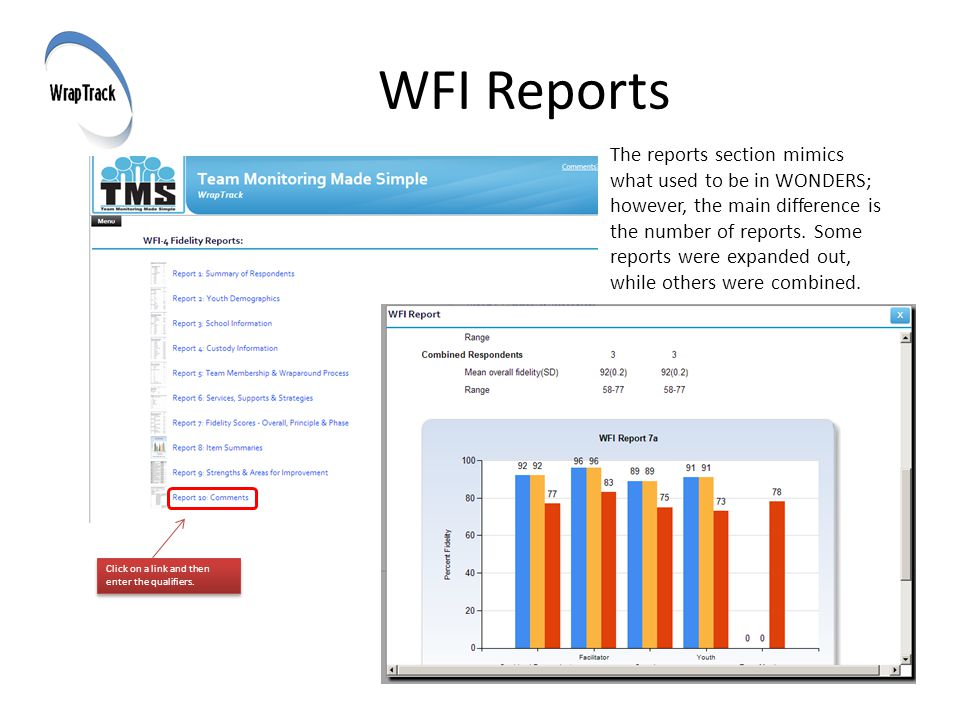 WFI Reports The reports section mimics what used to be in WONDERS; however, the main difference is the number of reports.