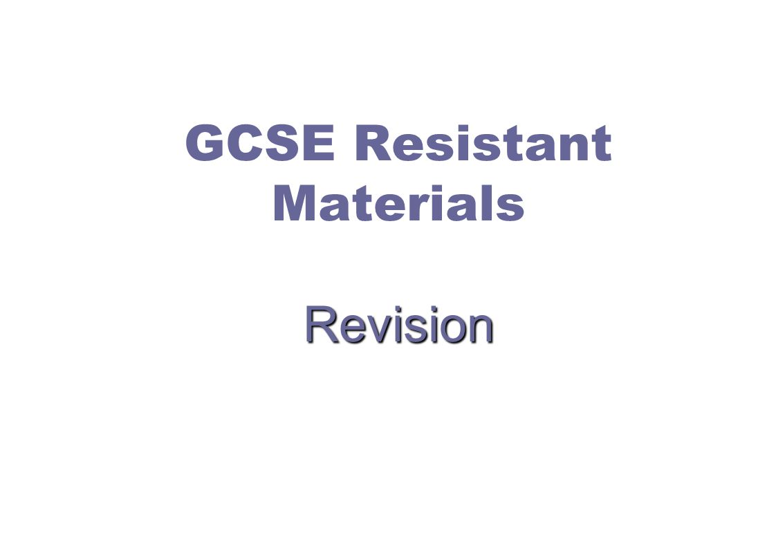 A B C D E 1 Match the manufactured board with the explanation Resistant Materials Revision Quiz