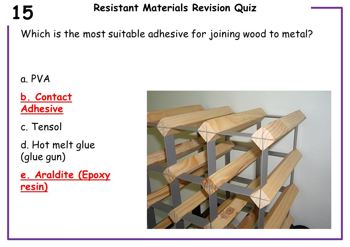 Resistant Materials Revision Quiz What is the name of the wood joint in the image.